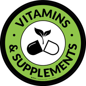 Vitamins & Supplements Circle - Floor Sign