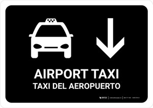 Airport Taxi With Down Arrow Black Bilingual Landscape - Wall Sign