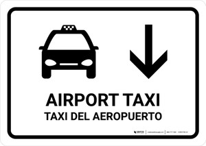 Airport Taxi With Down Arrow White Bilingual Landscape - Wall Sign