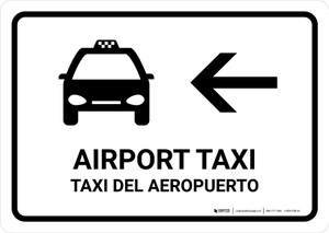Airport Taxi With Left Arrow White Bilingual Landscape - Wall Sign