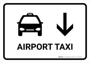 Airport Taxi With Down Arrow White Landscape - Wall Sign