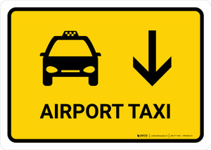 Airport Taxi With Down Arrow Yellow Landscape - Wall Sign