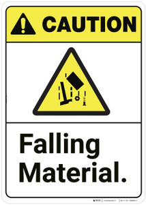 Caution: Falling Material ANSI - Wall Sign