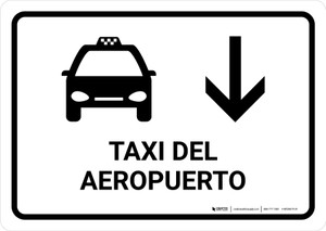 Airport Taxi With Down Arrow White Spanish Landscape - Wall Sign