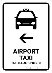 Airport Taxi With Left Arrow White Bilingual Portrait - Wall Sign