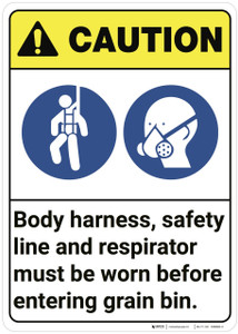 Caution: Grain Bin PPE ANSI - Wall Sign