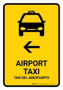 Airport Taxi With Left Arrow Yellow Bilingual Portrait - Wall Sign