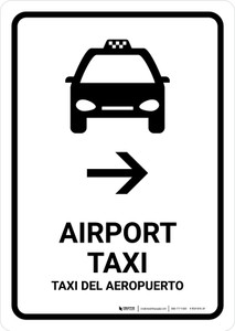 Airport Taxi With Right Arrow White Bilingual Portrait - Wall Sign