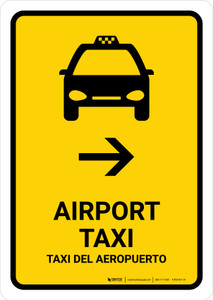 Airport Taxi With Right Arrow Yellow Bilingual Portrait - Wall Sign