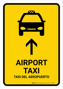 Airport Taxi With Up Arrow Yellow Bilingual Portrait - Wall Sign