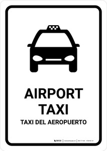 Airport Taxi White Bilingual Portrait - Wall Sign