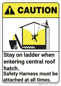 Caution: Grain Bin Safety Stay On ladder ANSI - Wall Sign