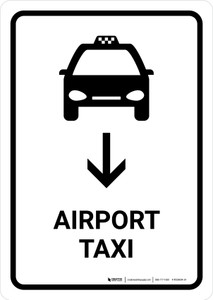 Airport Taxi With Down Arrow White Portrait - Wall Sign