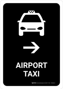 Airport Taxi With Right Arrow Black Portrait - Wall Sign