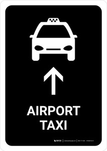 Airport Taxi With Up Arrow Black Portrait - Wall Sign