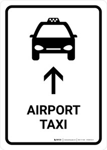 Airport Taxi With Up Arrow White Portrait - Wall Sign