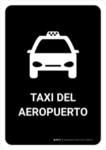Airport Taxi Black Spanish Portrait - Wall Sign