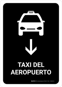 Airport Taxi With Down Arrow Black Spanish Portrait - Wall Sign