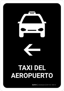 Airport Taxi With Left Arrow Black Spanish Portrait - Wall Sign