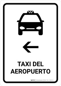 Airport Taxi With Left Arrow White Spanish Portrait - Wall Sign