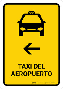 Airport Taxi With Left Arrow Yellow Spanish Portrait - Wall Sign