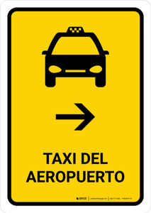 Airport Taxi With Right Arrow Yellow Spanish Portrait - Wall Sign