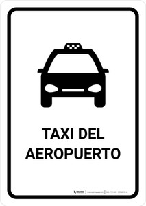 Airport Taxi White Spanish Portrait - Wall Sign