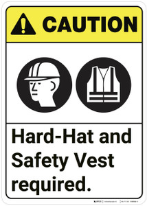Caution: Hard Hat Safety Vest Required ANSI - Wall Sign