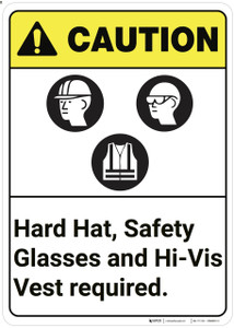 Caution: Hard Hat Vest Safety Glasses Required ANSI - Wall Sign