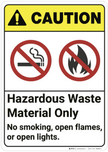 Caution: Hazardous Waste Material Only ANSI - Wall Sign