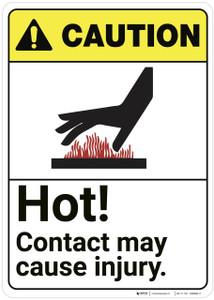 Caution: Hot Contact May Cause Injury ANSI - Wall Sign