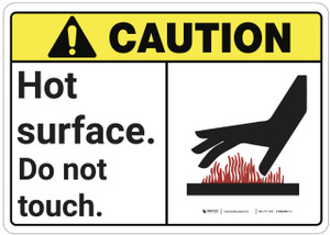 Caution: Hot Surface Do Not Touch ANSI - Wall Sign