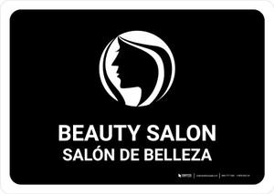 Beauty Salon Black Bilingual Landscape - Wall Sign