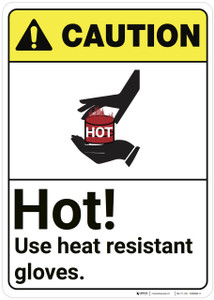 Caution: Hot Use Heat Resistant Gloves ANSI - Wall Sign