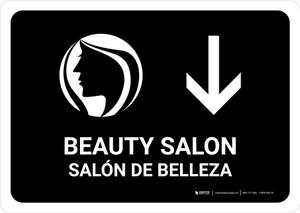 Beauty Salon With Down Arrow Black Bilingual Landscape - Wall Sign