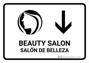 Beauty Salon With Down Arrow White Bilingual Landscape - Wall Sign