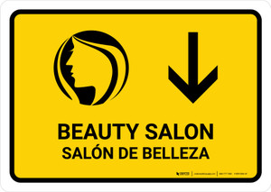 Beauty Salon With Down Arrow Yellow Bilingual Landscape - Wall Sign