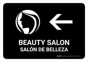 Beauty Salon With Left Arrow Black Bilingual Landscape - Wall Sign