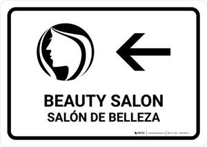 Beauty Salon With Left Arrow White Bilingual Landscape - Wall Sign