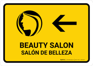 Beauty Salon With Left Arrow Yellow Bilingual Landscape - Wall Sign
