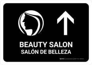 Beauty Salon With Up Arrow Black Bilingual Landscape - Wall Sign
