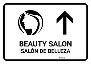 Beauty Salon With Up Arrow White Bilingual Landscape - Wall Sign