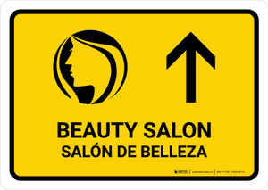Beauty Salon With Up Arrow Yellow Bilingual Landscape - Wall Sign
