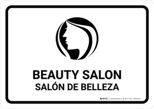 Beauty Salon White Bilingual Landscape - Wall Sign