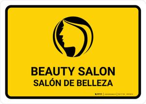 Beauty Salon Yellow Bilingual Landscape - Wall Sign