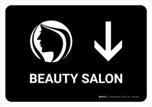 Beauty Salon With Down Arrow Black Landscape - Wall Sign