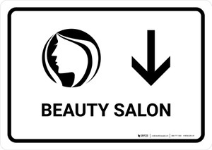 Beauty Salon With Down Arrow White Landscape - Wall Sign