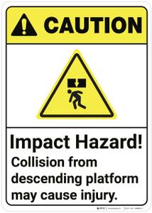 Caution: Impact Hazard May Cause Serious Injury ANSI - Wall Sign