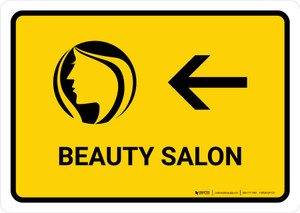 Beauty Salon With Left Arrow Yellow Landscape - Wall Sign