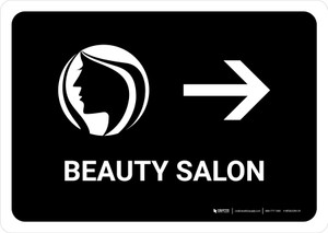 Beauty Salon With Right Arrow Black Landscape - Wall Sign